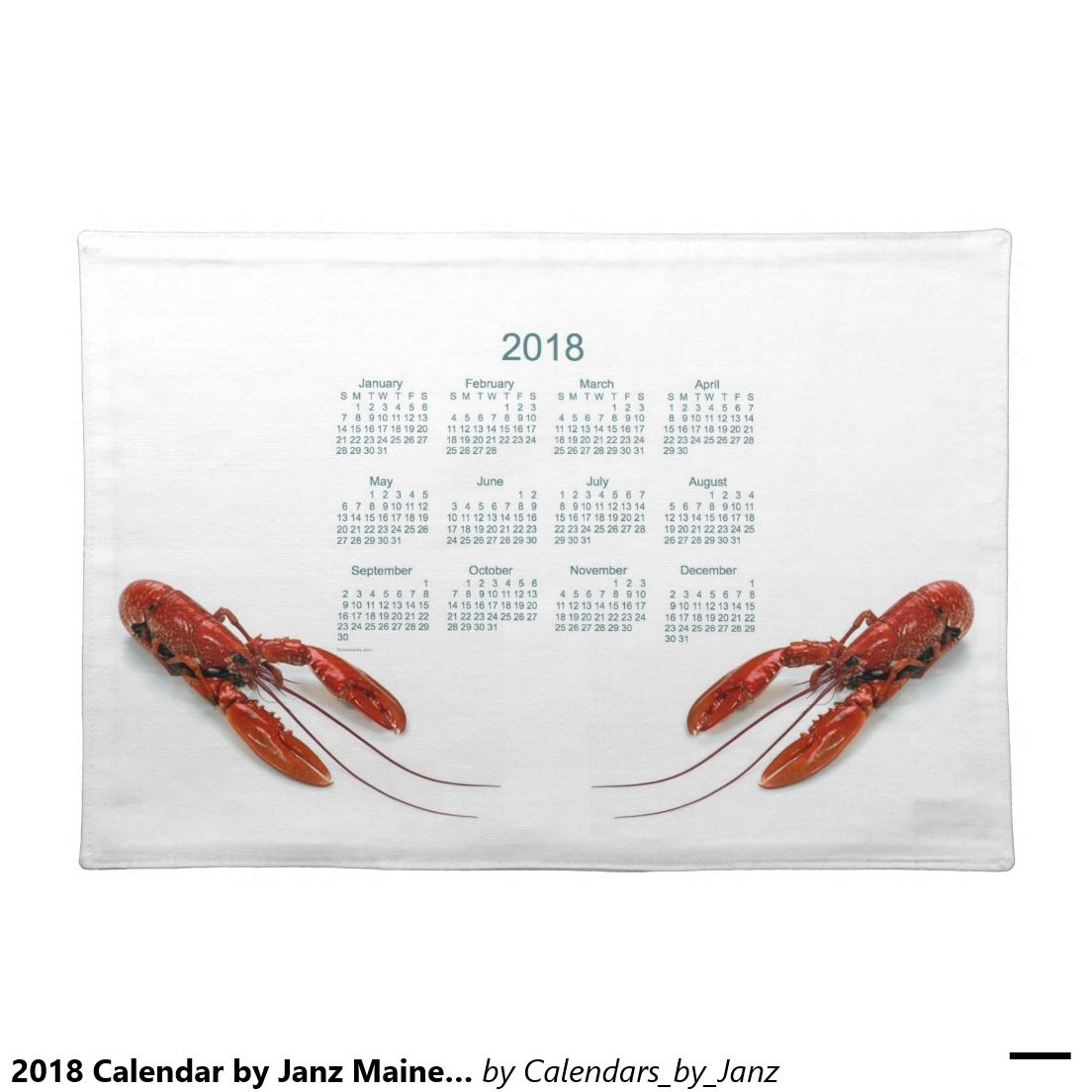 2018 Calendar By Janz Maine Lobsters Placemat Cloth Place Mat Black Placemats White Placemats Placemats