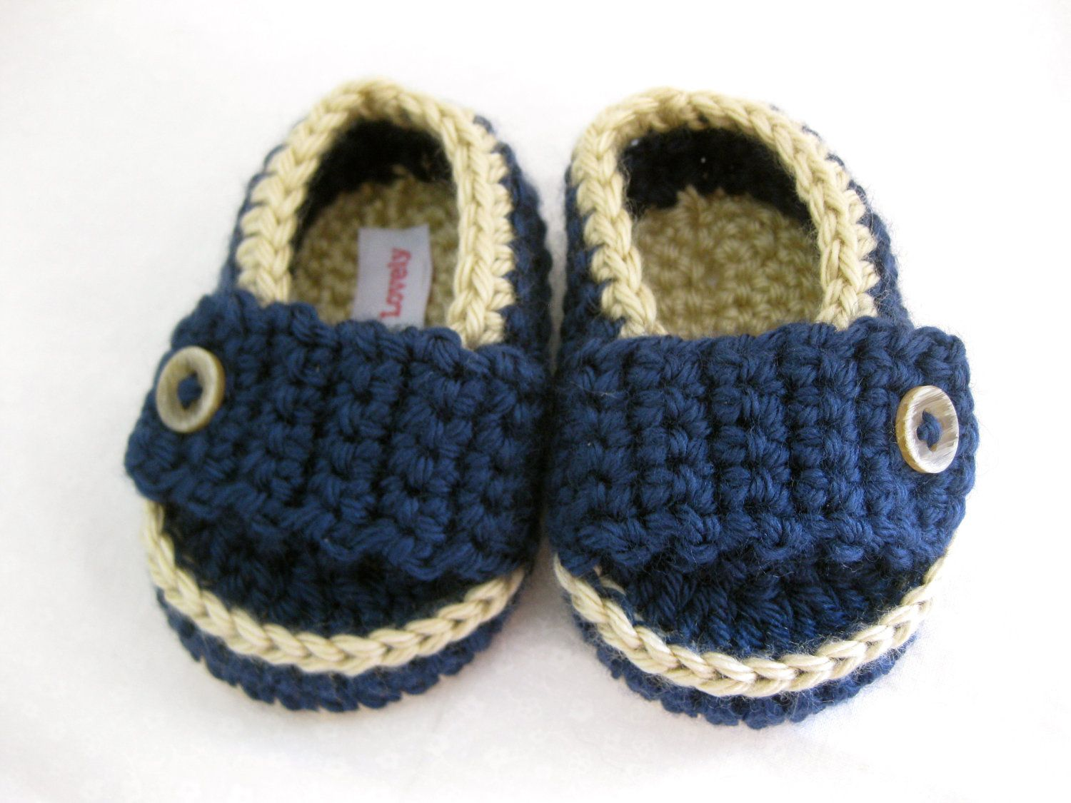 Baby Boy Booties / Shoes / Loafer Tan & Dark Blue Crochet  - YOUR choice size newborn - 12 months - photo prop - clothing. $24.00, via Etsy.