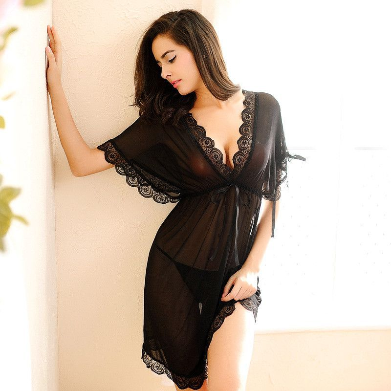 f84a49e74 Womens Nightdress Sexy Lace Splicing Nightgowns Batwing Sleeve V-Neck Woman  Sleepwear Nightgown Chemise De Nuit Ladies Nightgown