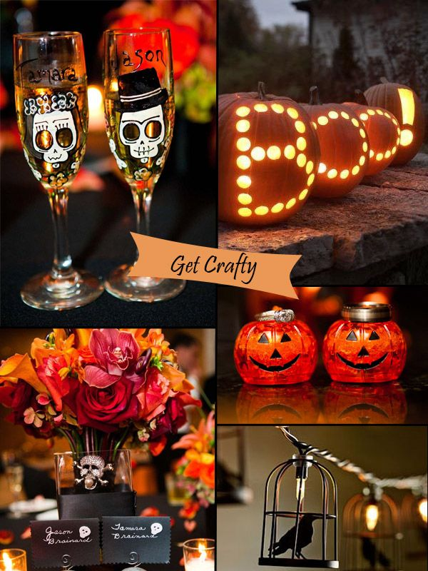 classy halloween inspired wedding ideas and bridesmaid dresses - Halloween Themed Wedding Reception