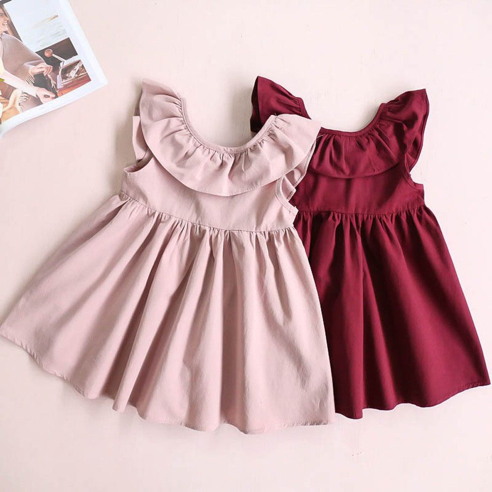 Cute Toddler Infant Baby Girl Ruffled Party Cocktail Dress
