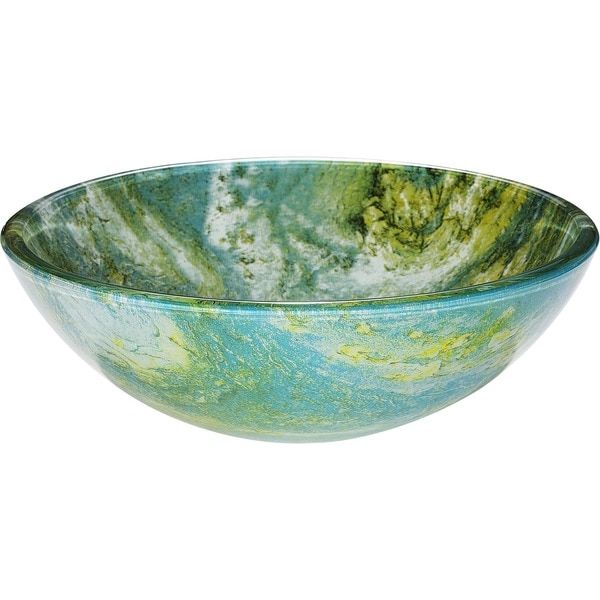 Y-Decor Gourmand Blended Hues of Blue and Green Vessel Sink ...