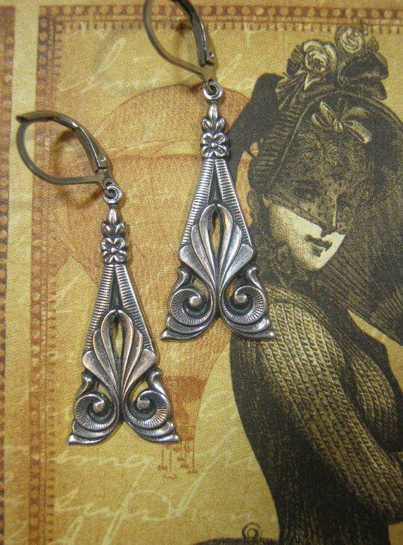 Edwardian Jewelry - 1920s Earrings - Downton Abbey Jewelry - Art Deco Earrings - Art Nouveau Jewelry - Neo Victorian Jewelry - Belle Epoque