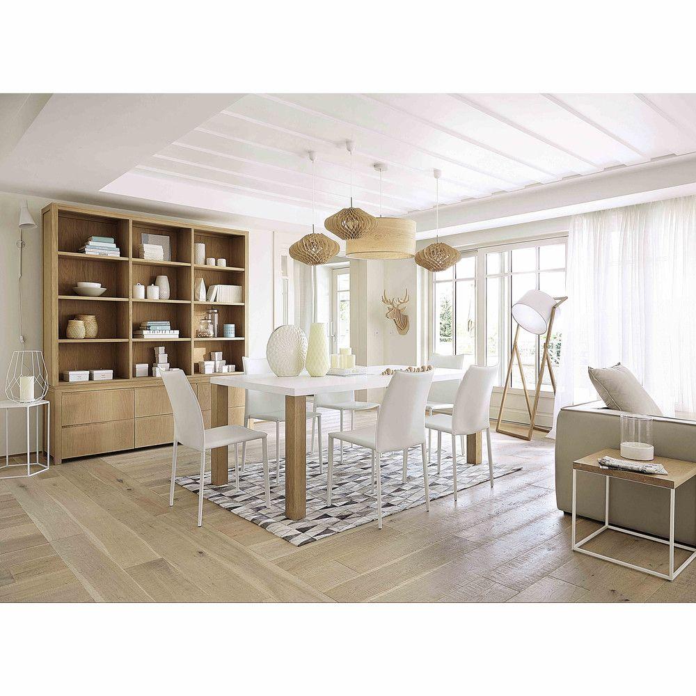 Mesa de comedor de madera blanca An. 200 cm | Mesas de comedor de ...