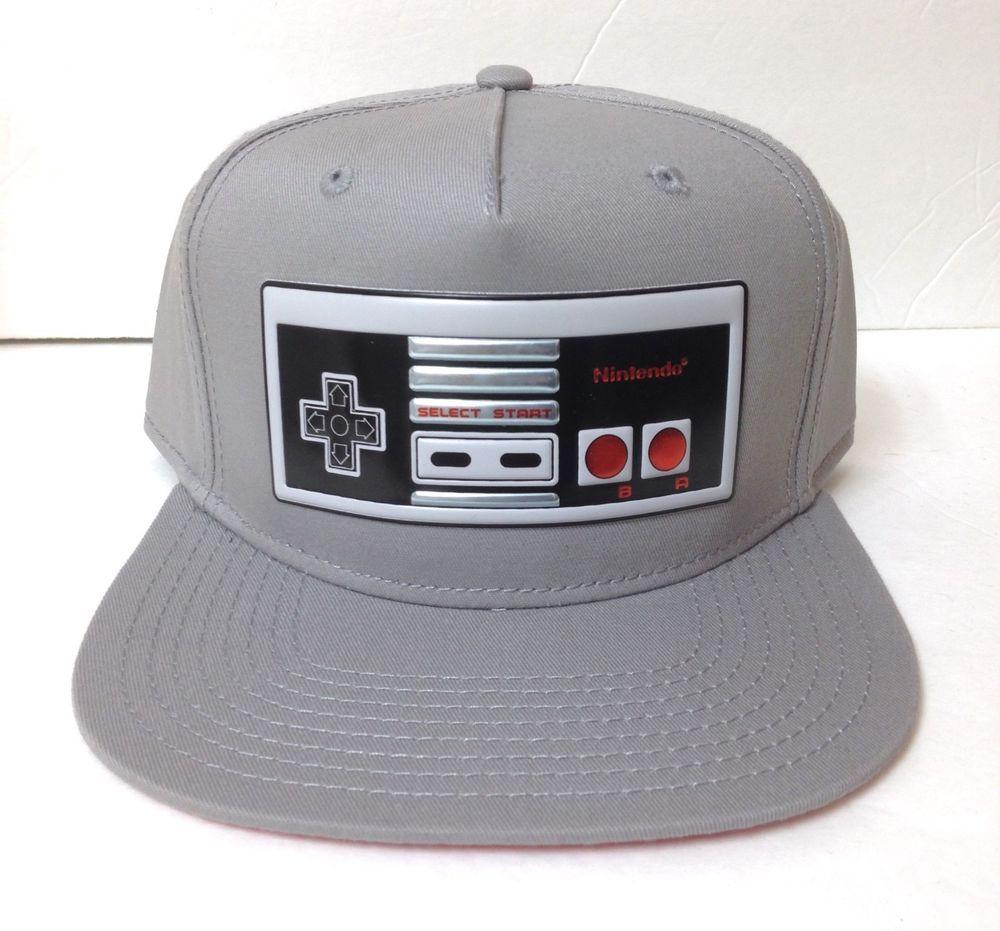 b5b244456 new NINTENDO NES CONTROLLER SNAPBACK HAT FlatBill Gray&METALLIC ...