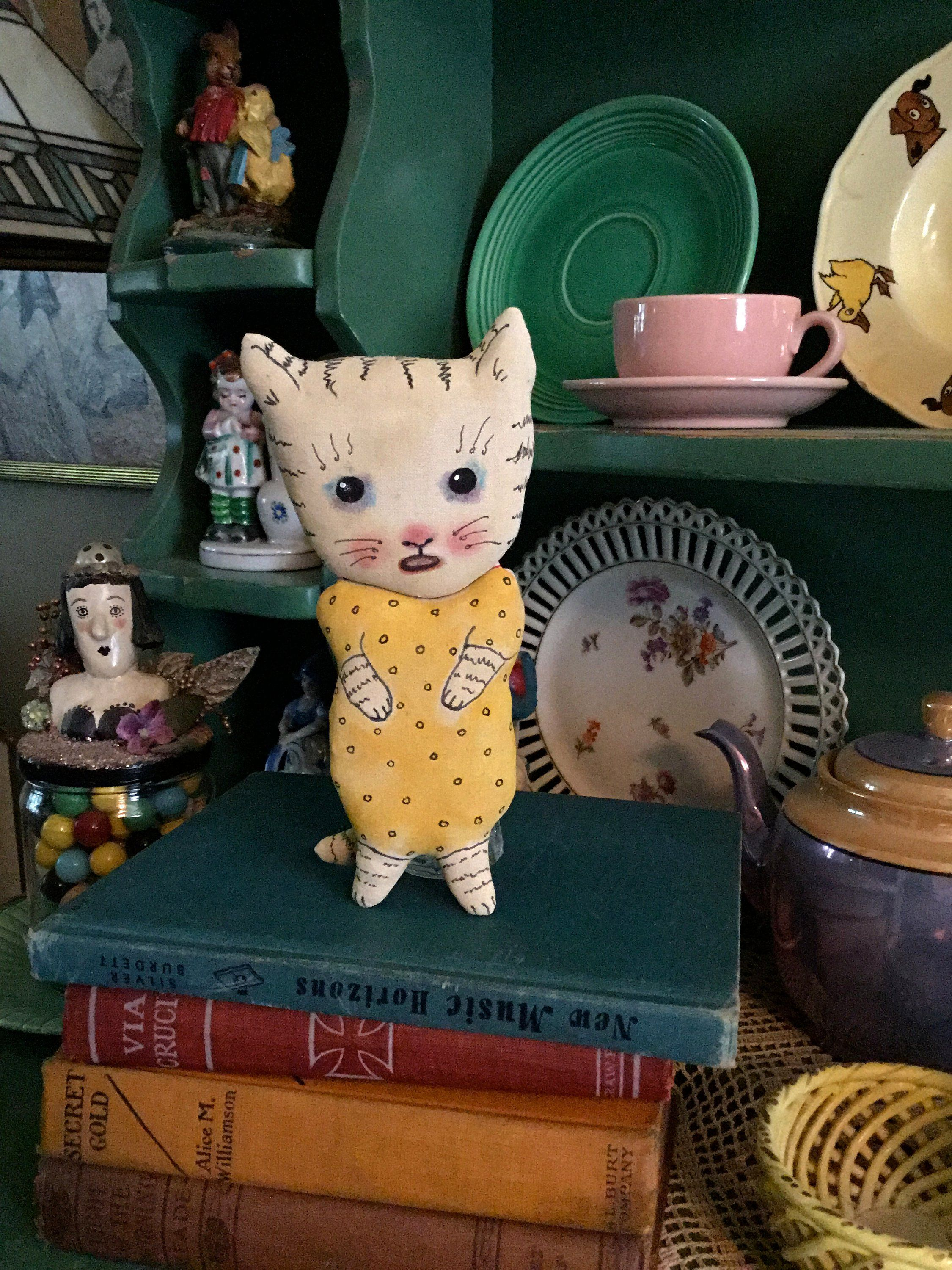 Cry baby cat art doll , sandy mastroni, whimsical wall art