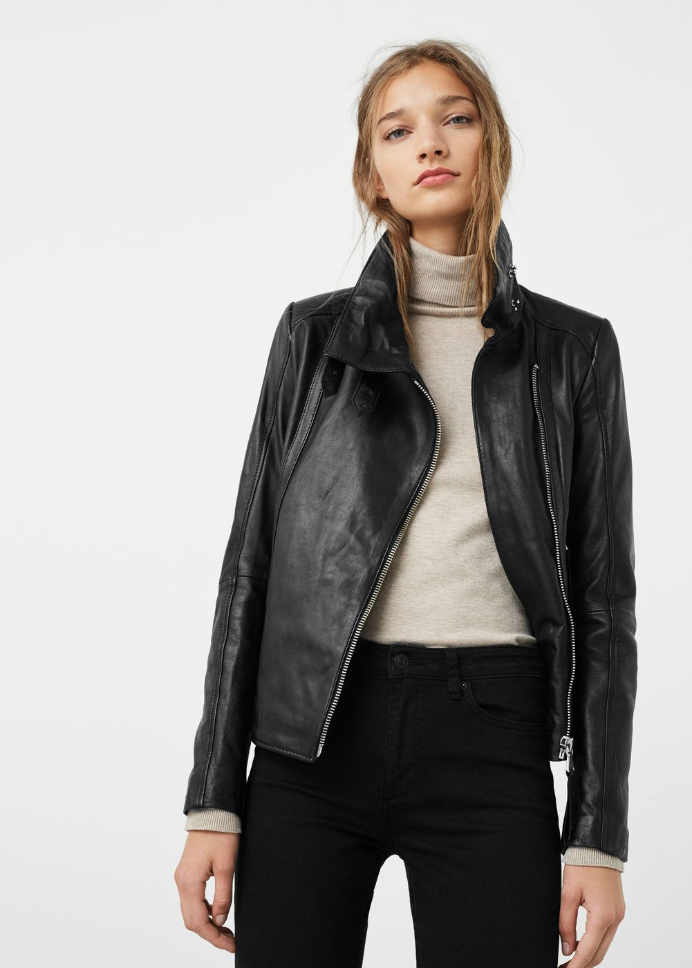 Zip detail leather biker jacket Women | Clothes, Jackets