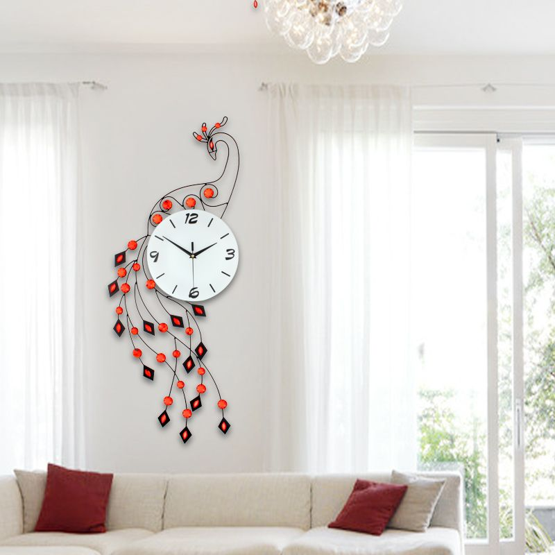 New Modern Designer Large Crystal Peacock Wall Clock Fashion For Home Living Room Decoration There Ar Peacock Living Room Living Room Carpet Wall Clock Modern
