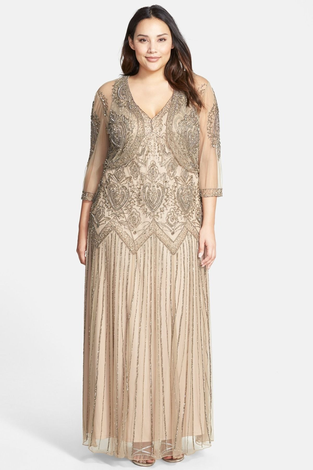 Beaded V-Neck Gown & Jacket (Plus Size)