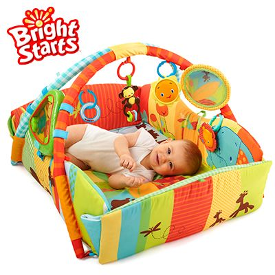 Bright Starts 5 In 1 Swingin Safari Baby S Play Place Playmat Converts As Baby Grows 20 Minutes Of Lights And Music 9 Baby Play Bright Starts Baby Gym