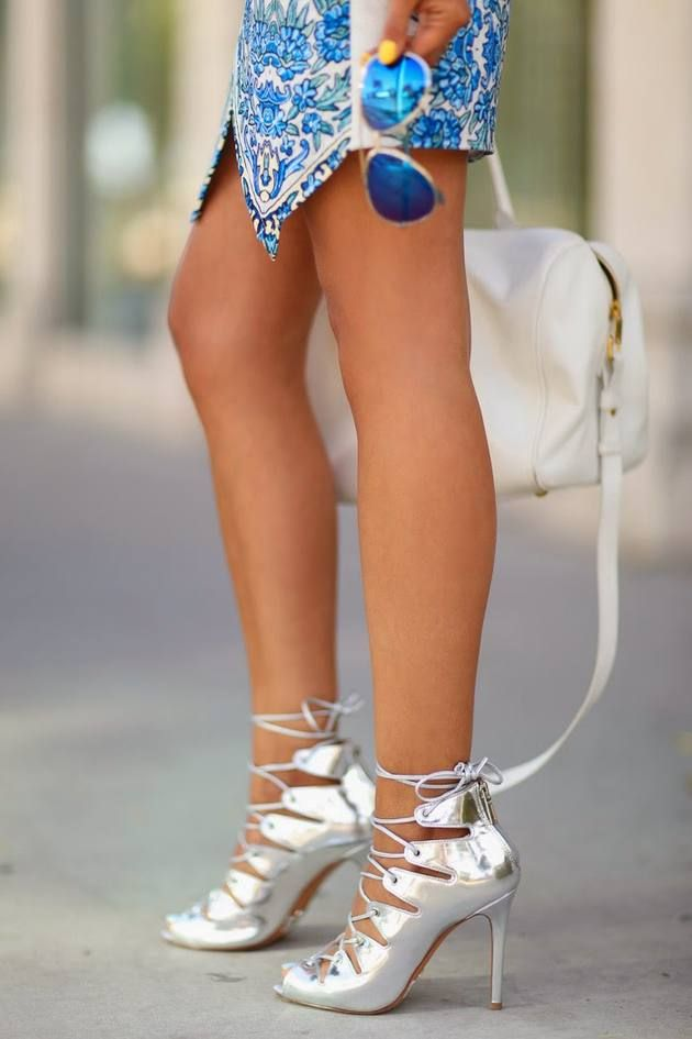 Schutz Metallic Silver Ankle  Lace-up Heeled Sandals
