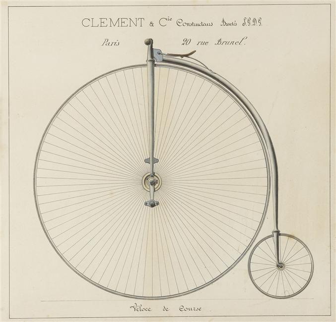 Véloce de course Description : Bicycle ou grand Bi, Clément et Cie Constructeur