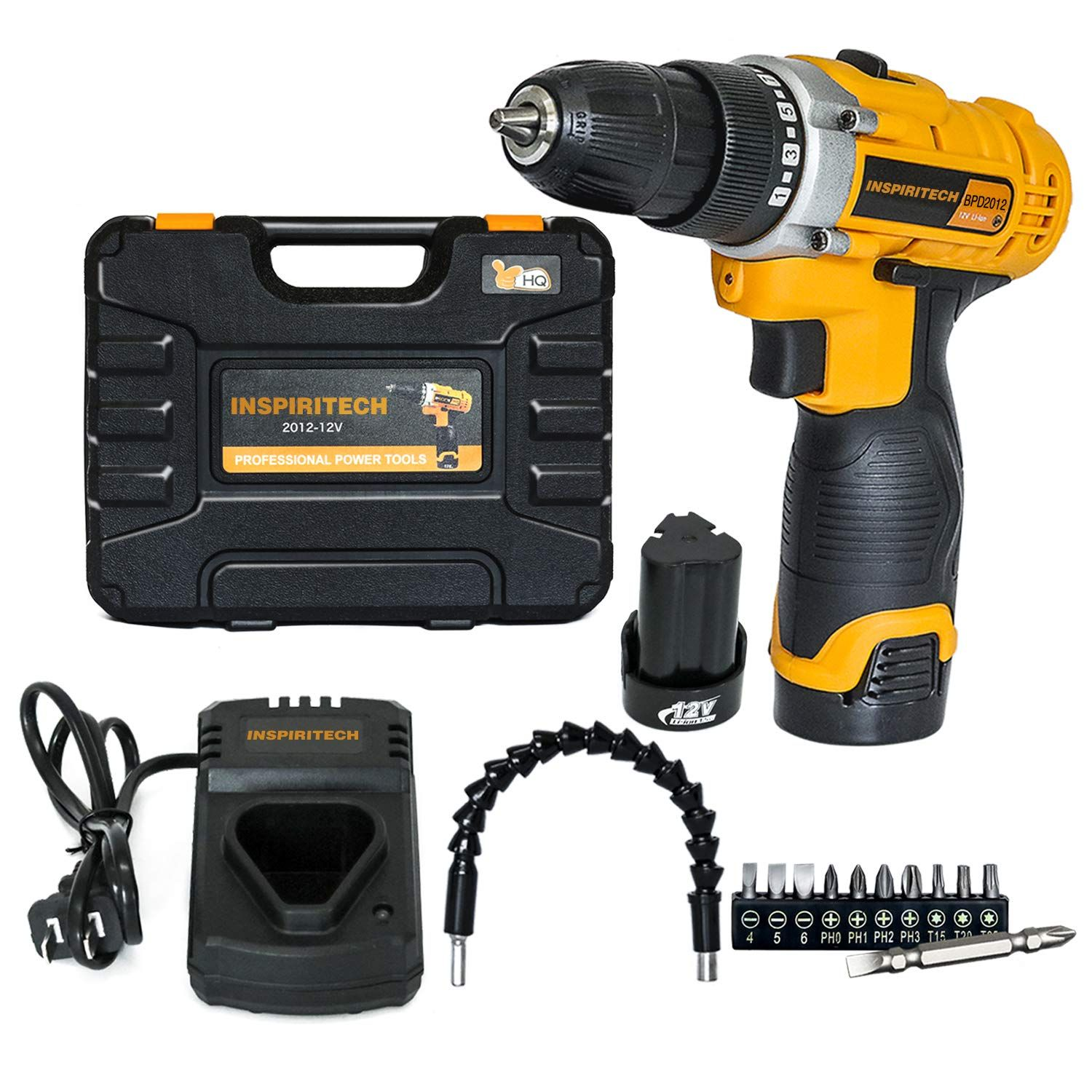 Inspiritech 12v Cordless Drill Driver Variable Speed 3 8inch Keyless Chuck 16 Clutch Positions With 2 Lithium Ion Batteries Cordless Drill Electric Drill Drill