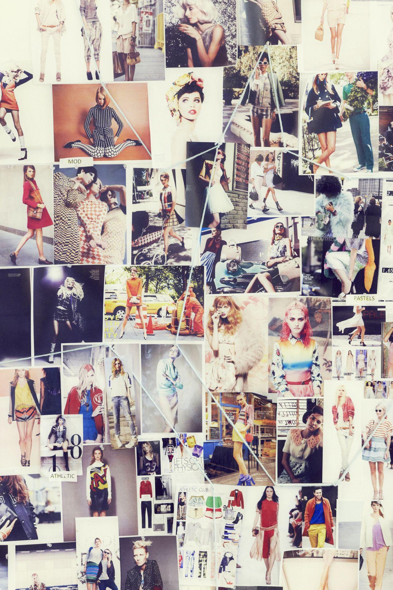 Colorful fashion designer board. (Inspiration board/mood ...