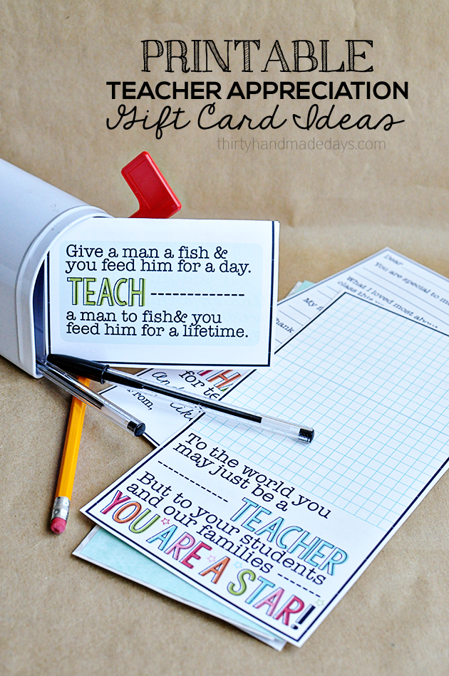 Printable Teacher Appreciation Gift Card Ideas   Teaching, Teacher ...