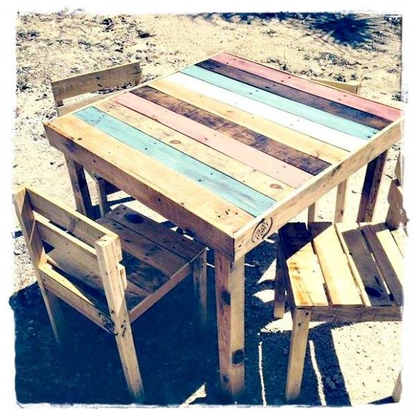 table de jardin colore en palette httpwwwhomelistycom - Table De Jardin Palette