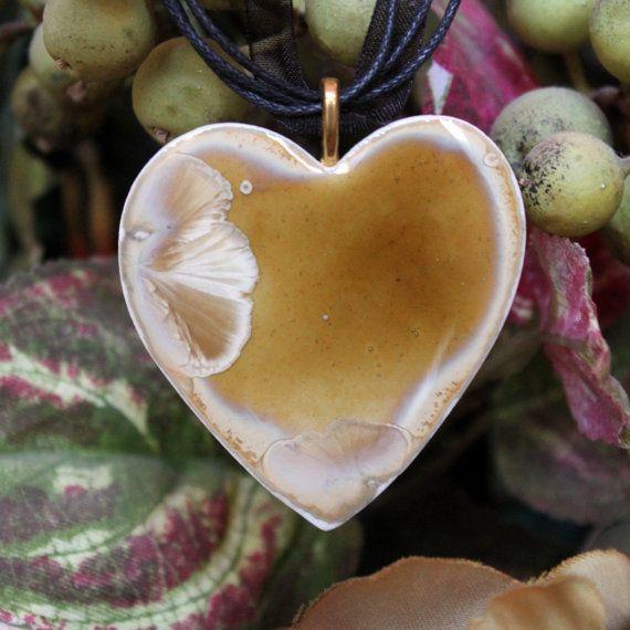 Handmade Ceramic Pendant  Caramel Heart Amber by ChironCreations