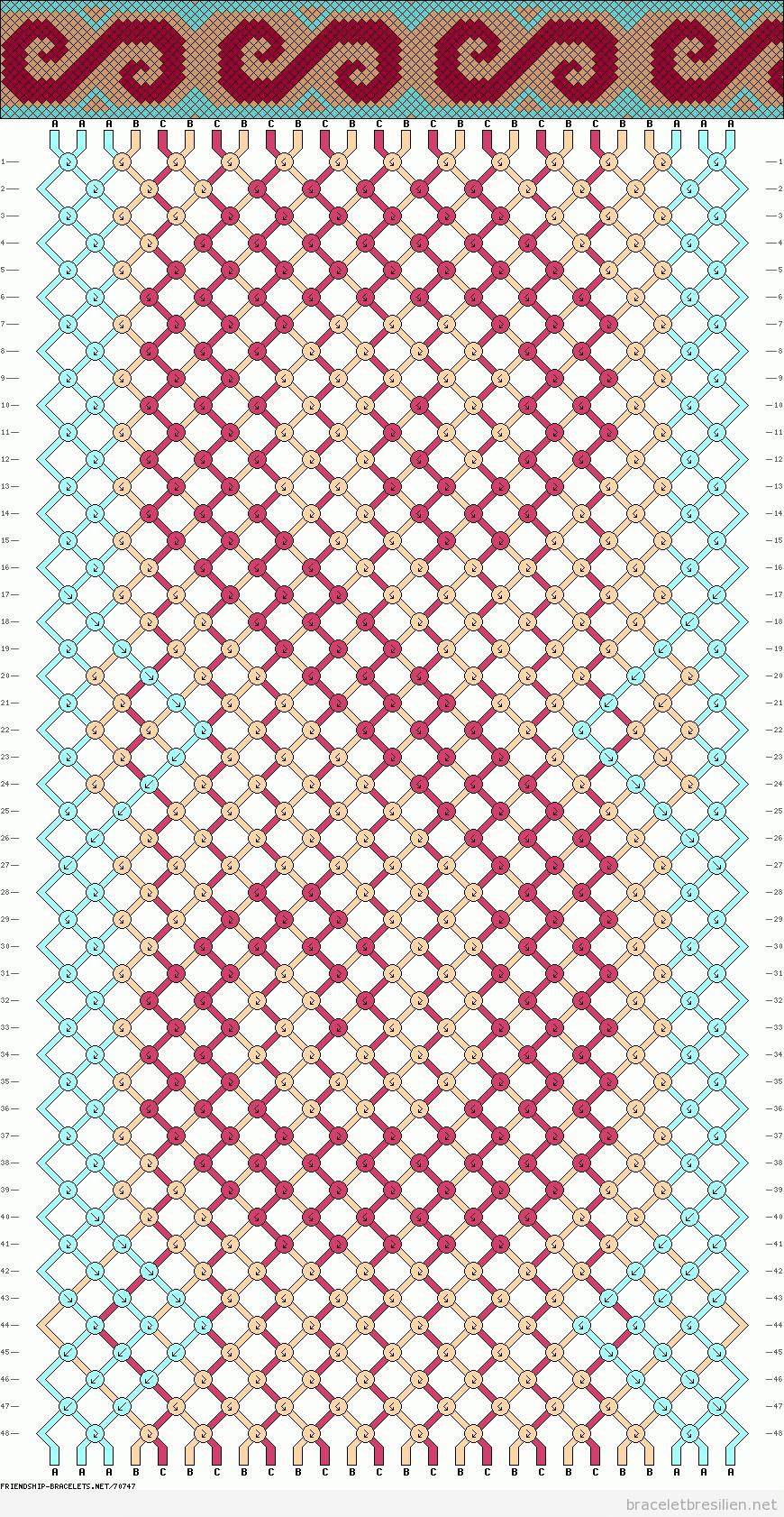 Modèle ou diagramme, bracelet brésilien, forme de S, vague ou torubillon