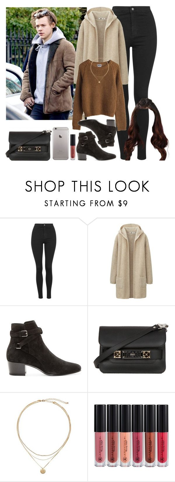"""London with Harry. -----> *Cynthia."" by imaginegirlsdsos ❤ liked on Polyvore featuring GET LOST, Topshop, Uniqlo, MTWTFSS Weekday, Yves Saint Laurent, Proenza Schouler and Anastasia Beverly Hills"