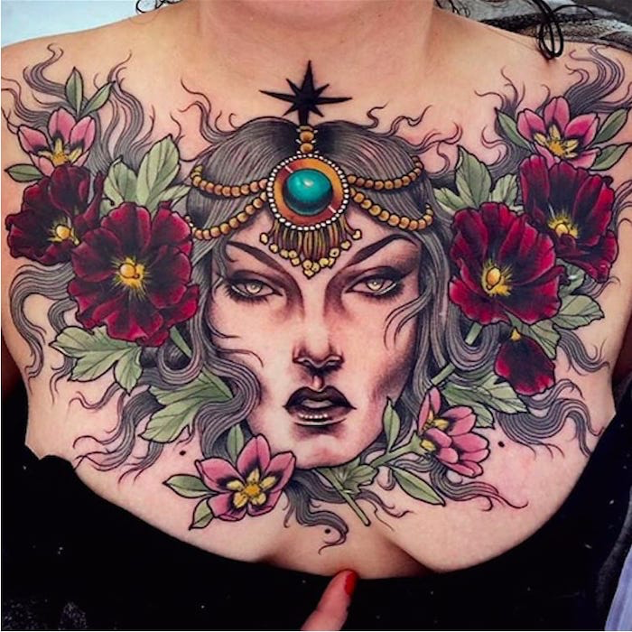 Large Female Face Red Pink Flowers Green Leaves Tribal Chest Tattoos Black Top Red Nail Polish Chest Tattoos For Women Chest Tattoo Flowers Chest Tattoo