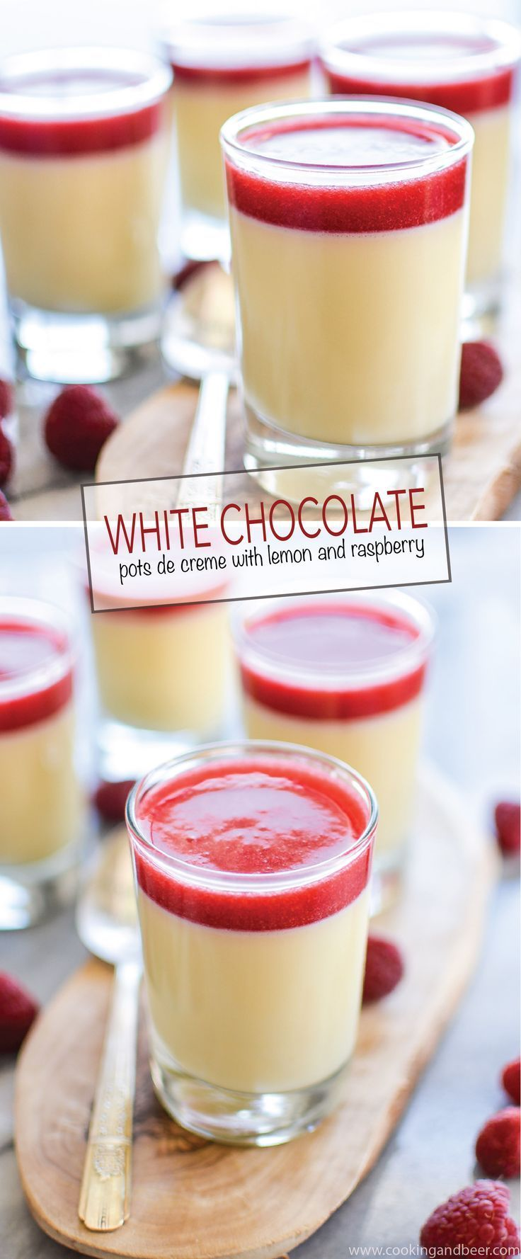 White Chocolate Pots de Creme with Lemon and Raspberry Sauce