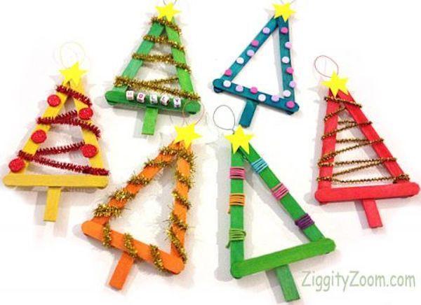 5 adornos de Navidad con palitos de helado Tipos de triangulos