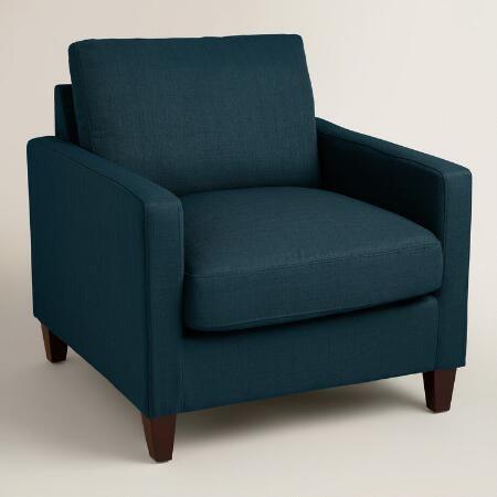 Best Azure Blue Textured Woven Abbott Chair Family Room Chair 640 x 480