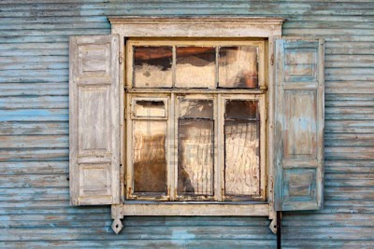 Beautiful Old Window On A Blue Wooden Wall Texture