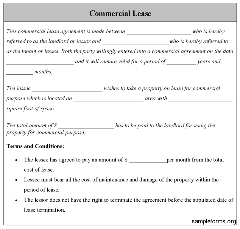 Commercial Lease Form Sample Commercial Lease Form  Sample Forms