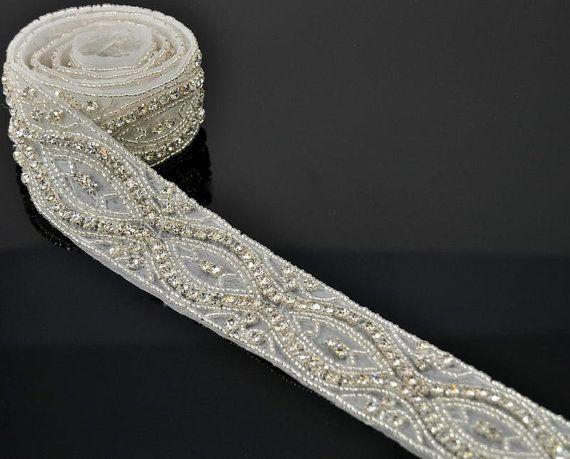 1 yard rhinestone trim bridal Sash trim by TheBrightShop on Etsy