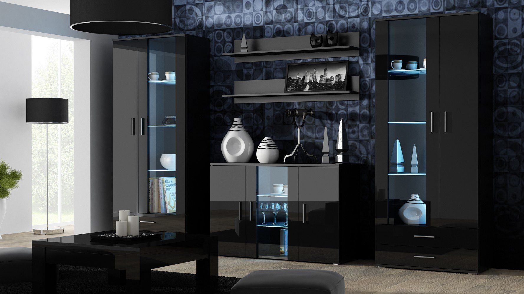 Furniture24 Wohnwand Soho Anbauwand Wohnzimmer M Bel Hochglanz Vitrine Kommode Tv Schrank Korpus Schwarz Matt Front Schwar In 2020 Wall Unit Decor Modern Wall Units