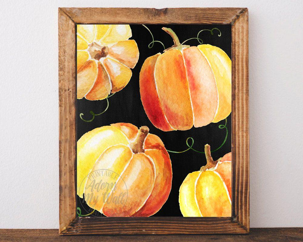 Pumpkin print, fall decor, Halloween print, printable, autumn, fall ...