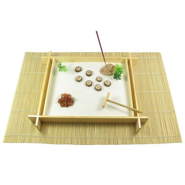 65 Philosophic Zen Garden Designs: Contains: 1x Bamboo Tray, 1x Bamboo Rake, 1x Bamboo Mat