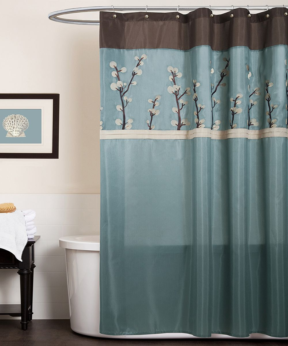 Blue Brown Lotus Flower Shower Curtain Brown Shower Curtain Blue Shower Curtains Fabric Shower Curtains