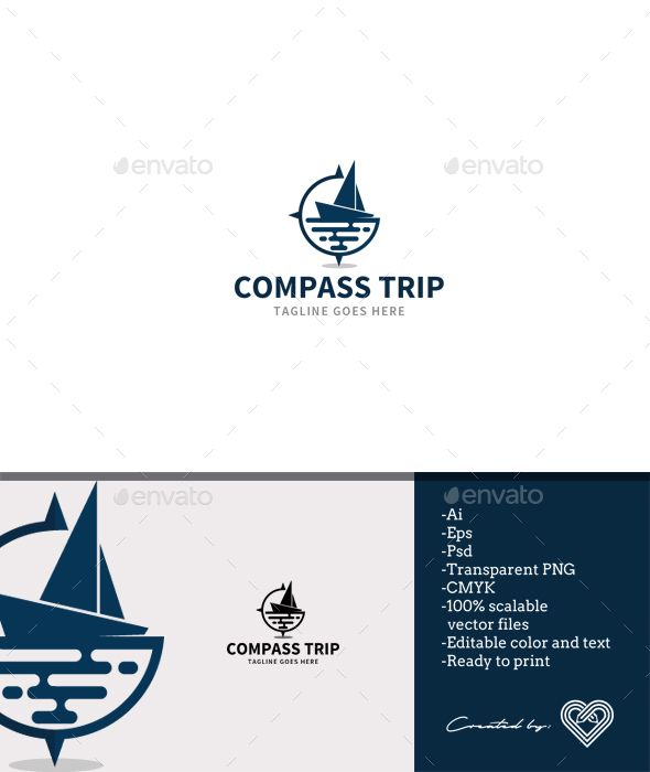Compass Trip Logo Template PSD, Transparent PNG, Vector EPS, AI Illustrator. Download here: https://graphicriver.net/item/compass-trip/17663211?ref=ksioks