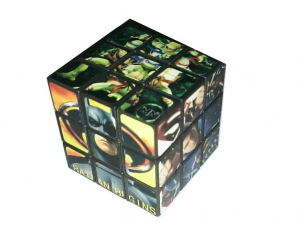 Superman Spider-Man Batman Power Rangers TMNT Hugh Jackman Wolverine Rubiks Type Puzzle Cube. This is a six sided Rubiks Cube featuring your favorite super heroes. Sides include Wolverine, Superman, Spider-Man, Batman, Power Rangers and Teenage Mutant Ninja Turtles. Same size as a full size Rubiks cube.