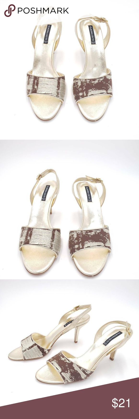 Claudia Ciuti Womens Sandals Brown Textured 9 Brown Sandals Womens Sandals Shoes Women Heels