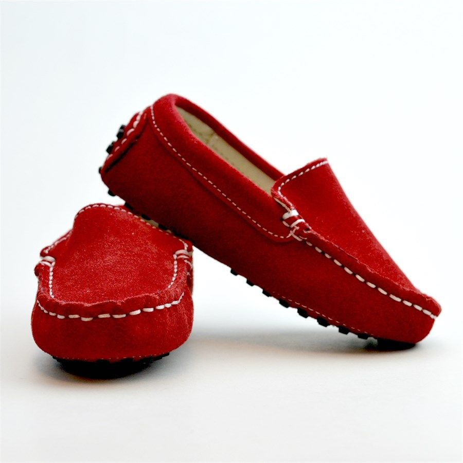 Kids' Genuine Suede Loafers | Red suede