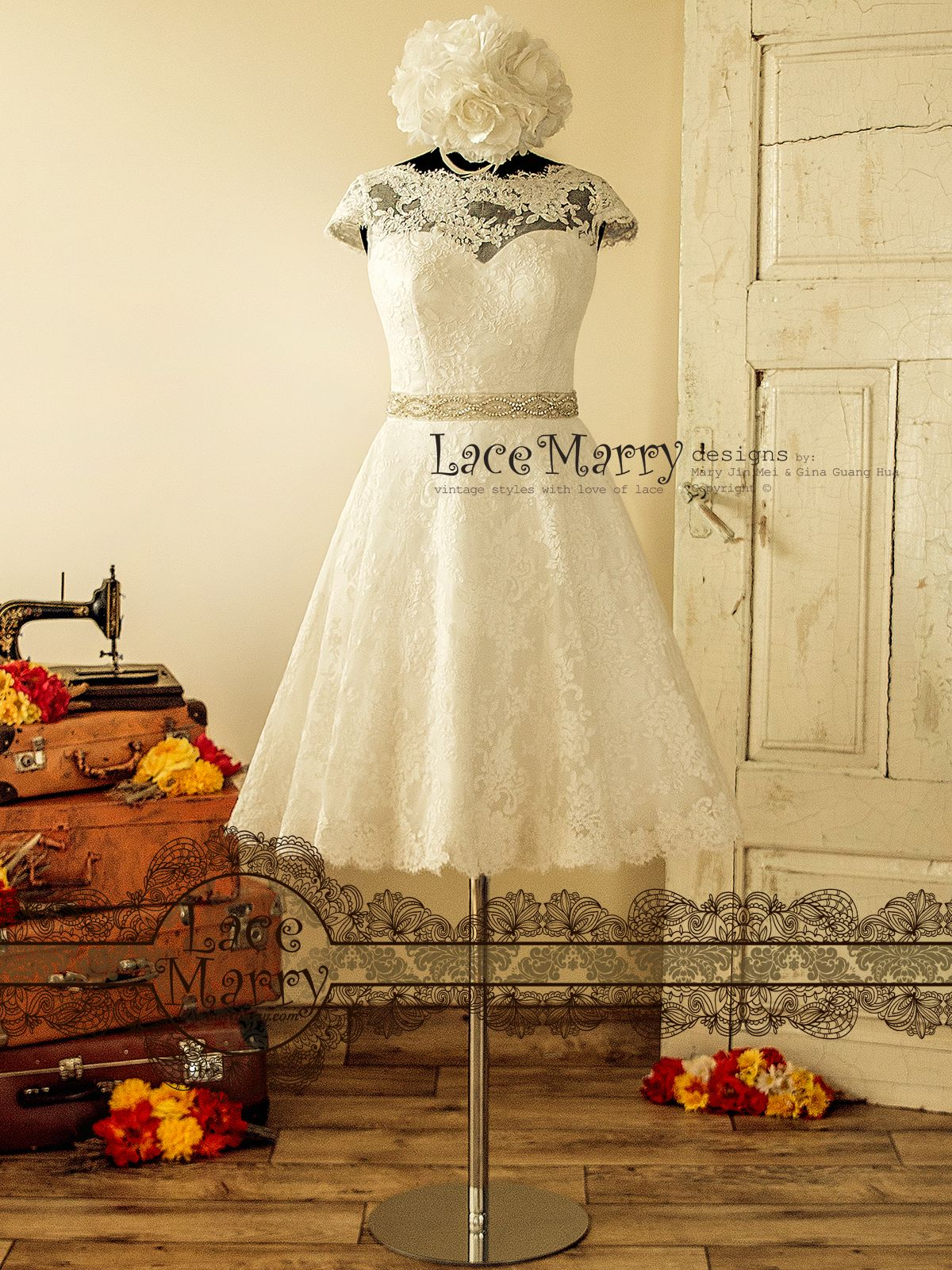 Knee length vintage style wedding dress from alencon lace with wide