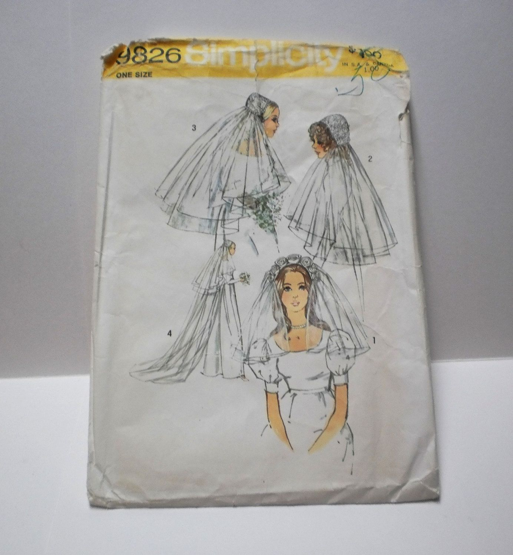 Vintage Wedding Veil Sewing Pattern Simplicity 9826