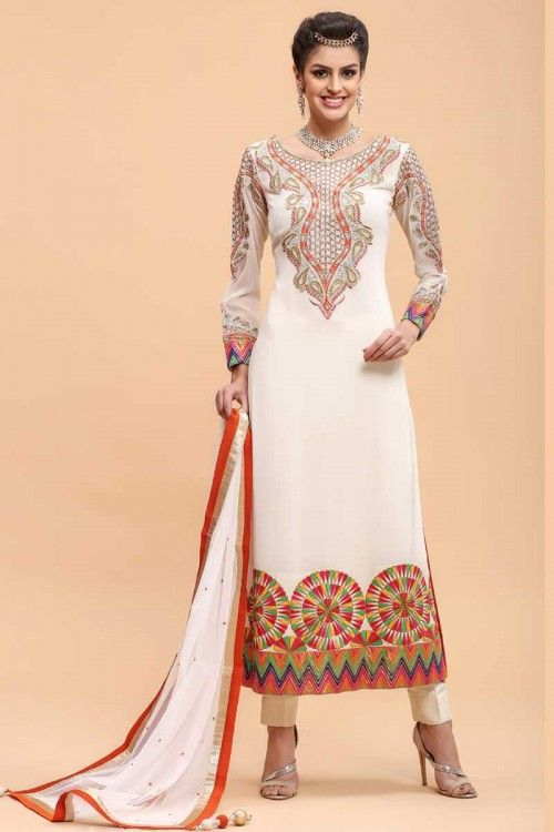 Cream Georgette Straight Suit Pant | Eid clothes, Trouser suits and ...