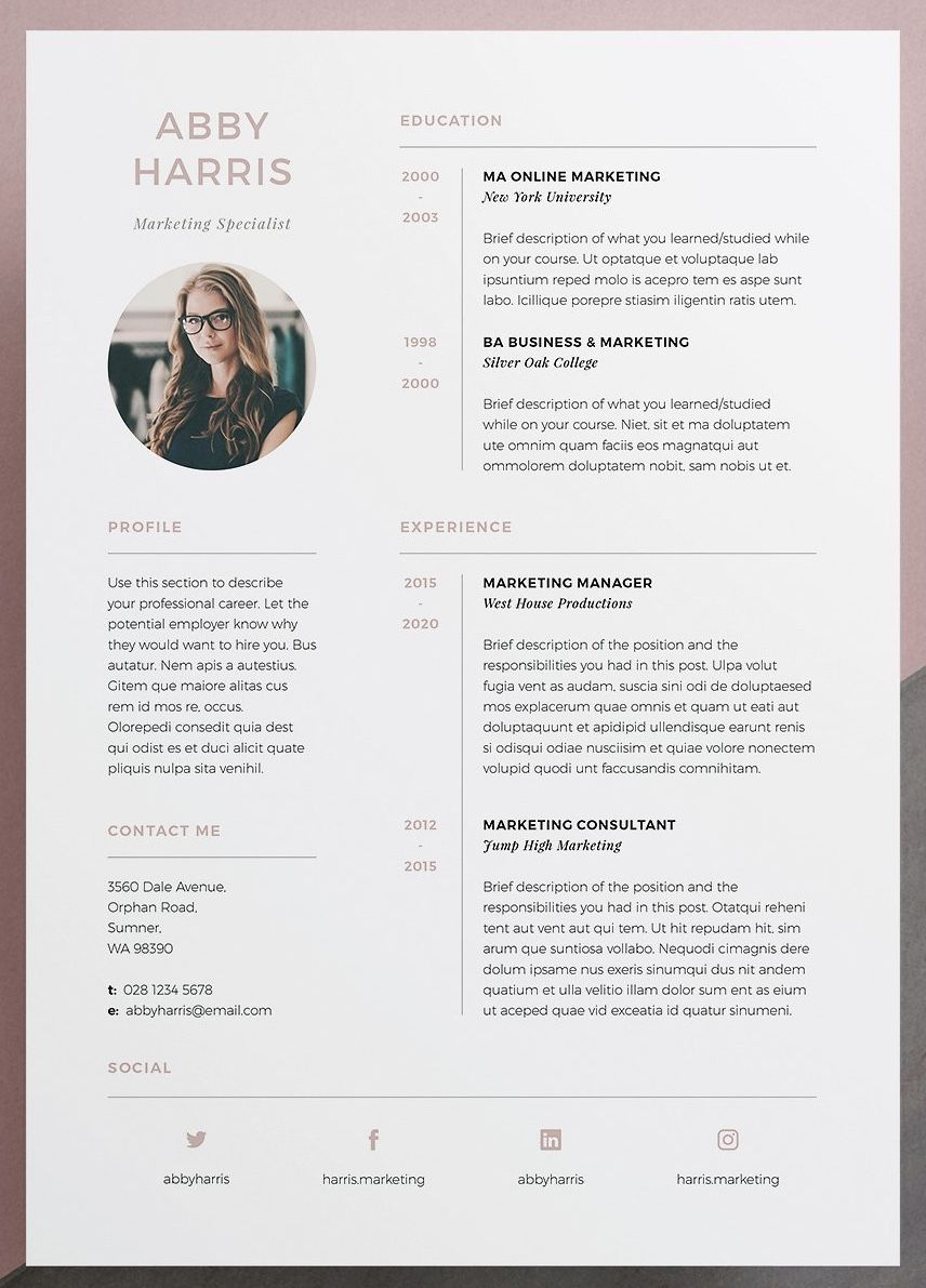 Professional Resume Cv And Cover Letter Template A Professional Two Page Design With Striking Cover Modele De Cv Design Modele Lettre De Motivation Modele Cv