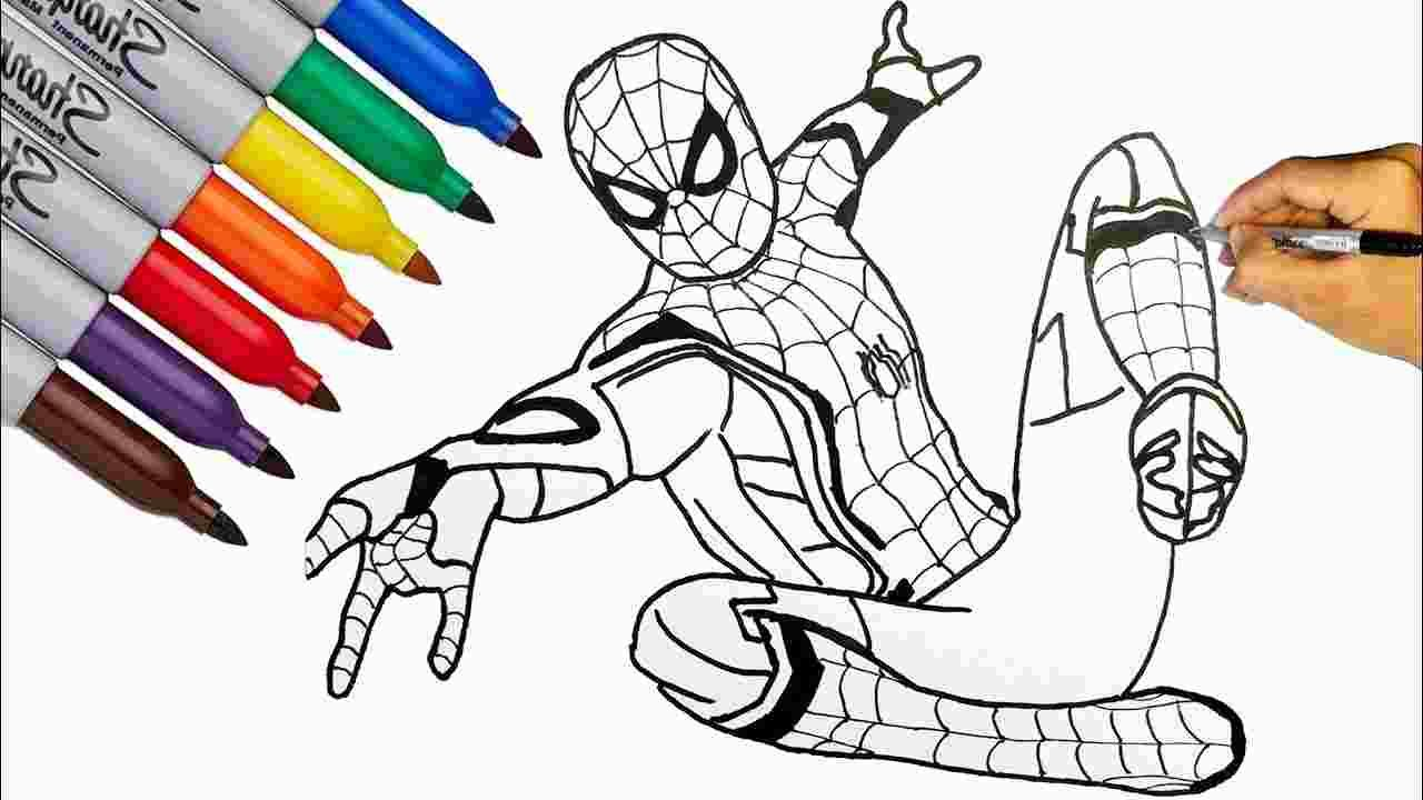 Coloring Spider Man Far From Home Coloring Pages Spiderman Coloring Spiderman Drawing