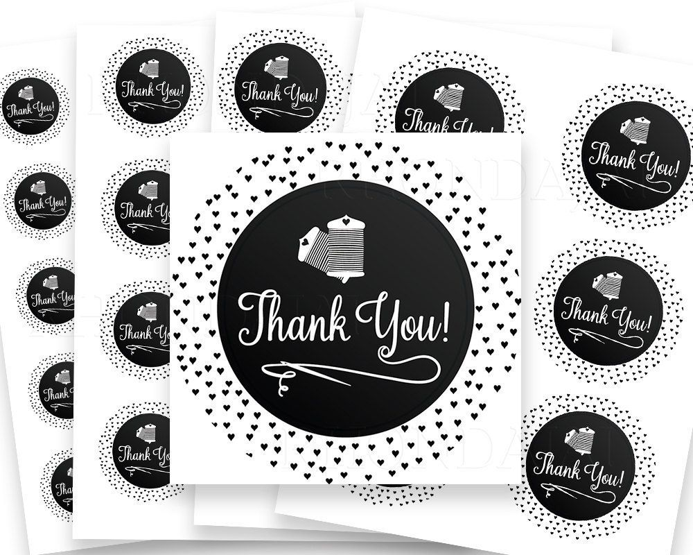 photograph relating to Printable Stickers Round named Thank By yourself Stickers - Printable Sticker - Thank On your own Labels