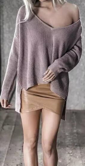 High Low Deep V Neck Sweater
