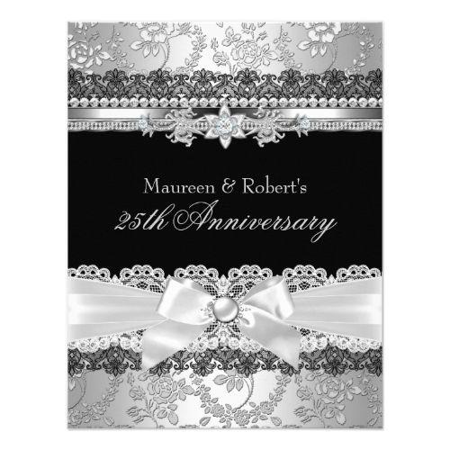 Black Lace Silver Pearl Bow 25th Anniversary Invitation Zazzle Com Anniversary Invitations Black Wedding Invitations 25th Wedding Anniversary Invitations