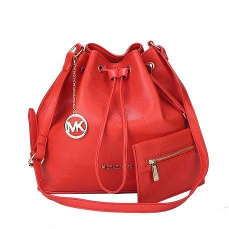 d58778bcce84 Michael Kors Jules Drawstring Leather Medium Red Shoulder Bags  #WomensShoulderbags