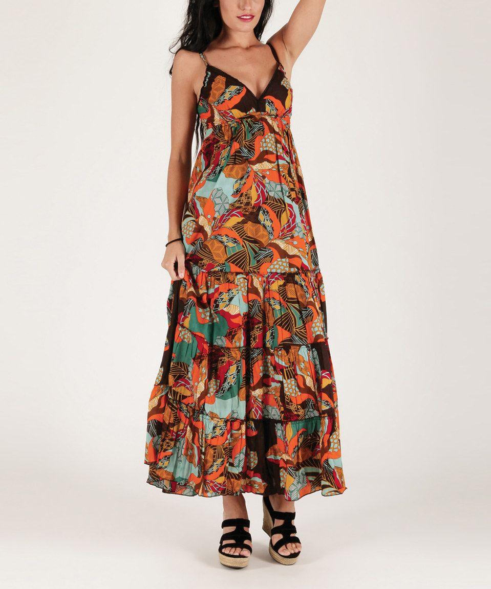Look at this #zulilyfind! Aller Simplement Brown & Orange Leaf Ruffle Maxi Dress by Aller Simplement #zulilyfinds