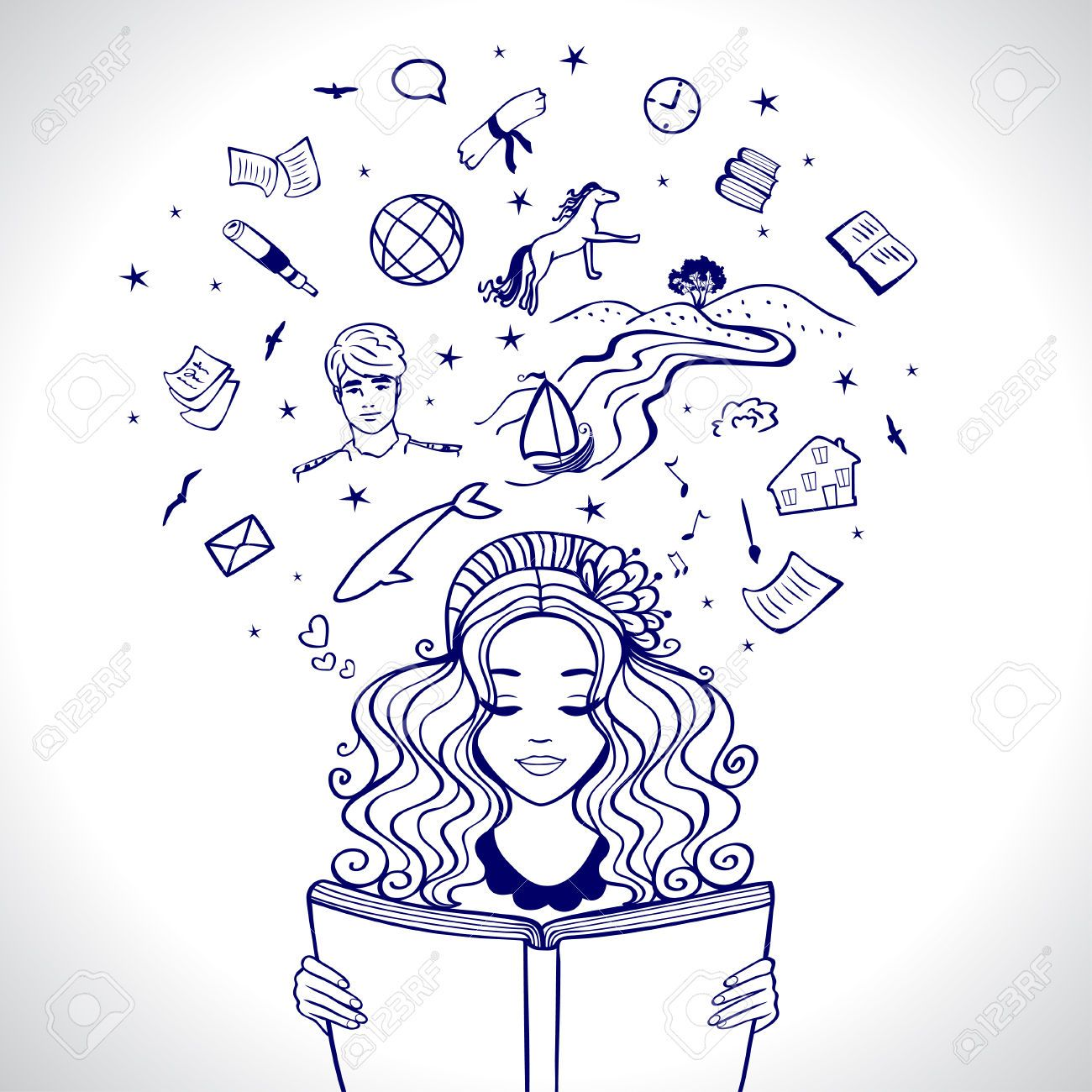 Resultado De Imagen Para Chica Leyendo Dibujo