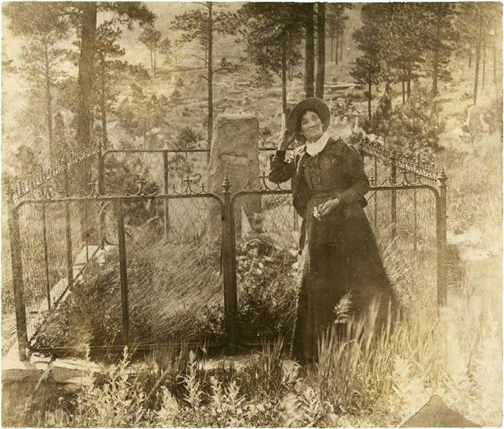 Martha Jane Burke (Calamity Jane) at Wild Bill Hickok's grave Mt. Moriah Cemetery, Deadwood, SD